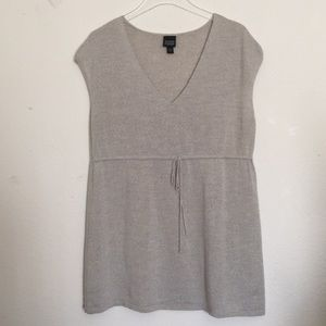 Eileen Fisher Gray Merino Drawstring Tunic Top L